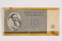 2004.385.2 front Theresienstadt ghetto-labor camp scrip, 10 kronen note, acquired by a former inmate  Click to enlarge