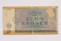 2004.385.2 back Theresienstadt ghetto-labor camp scrip, 10 kronen note, acquired by a former inmate  Click to enlarge