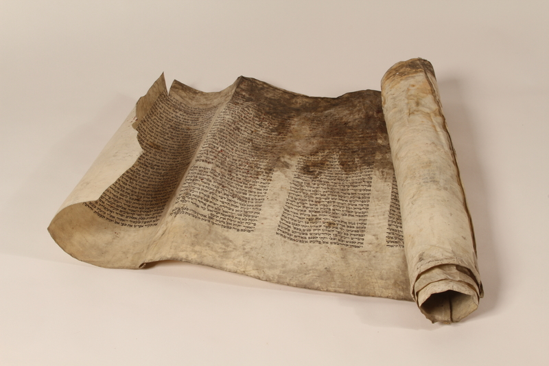 1991.227.1 b front Desecrated Torah scroll recovered postwar by a Polish Jew
