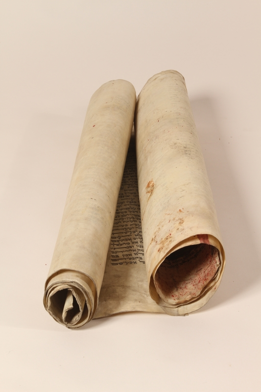 1991.227.1 c front Desecrated Torah scroll recovered postwar by a Polish Jew