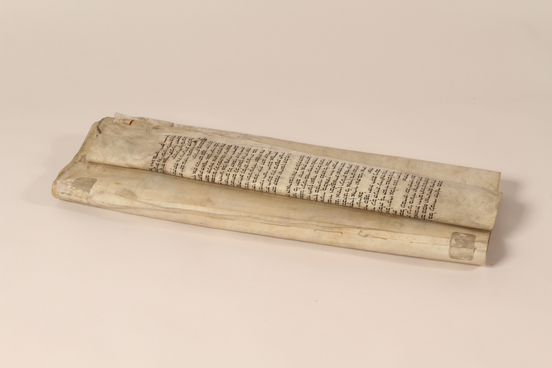 1991.227.1 d front Desecrated Torah scroll recovered postwar by a Polish Jew