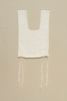 2004.406.3 front White cotton tallit katan used by a Polish Jewish elder  Click to enlarge