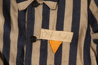 2004.411.1 detail Concentration camp striped uniform coat with yellow triangle worn by a Polish Jewish female inmate  Click to enlarge