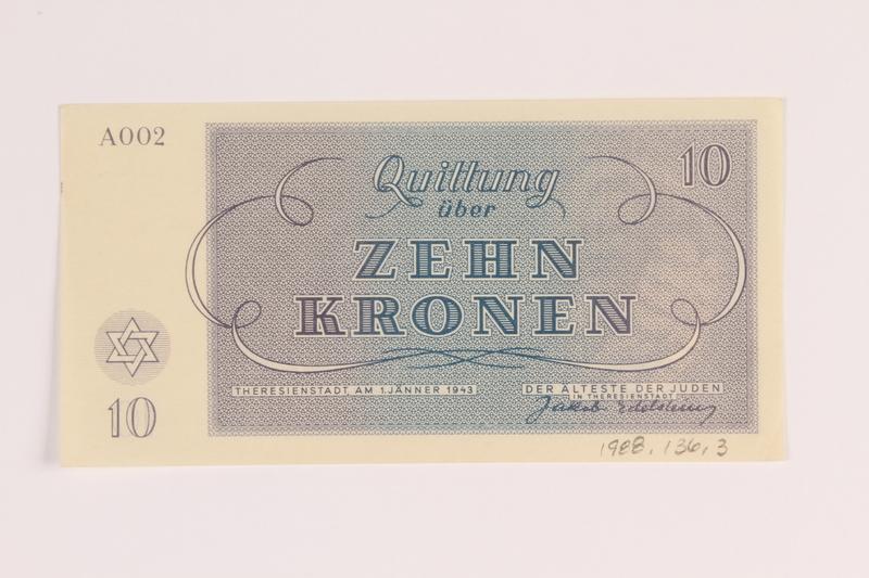 1988.136.3 front Theresienstadt ghetto-labor camp scrip, 10 kronen note