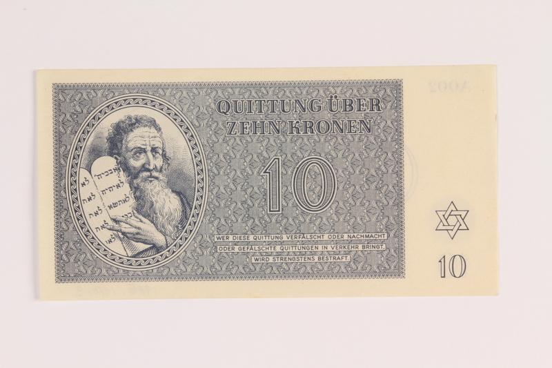 1988.136.3 back Theresienstadt ghetto-labor camp scrip, 10 kronen note