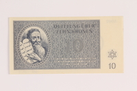 1988.136.3 back Theresienstadt ghetto-labor camp scrip, 10 kronen note  Click to enlarge