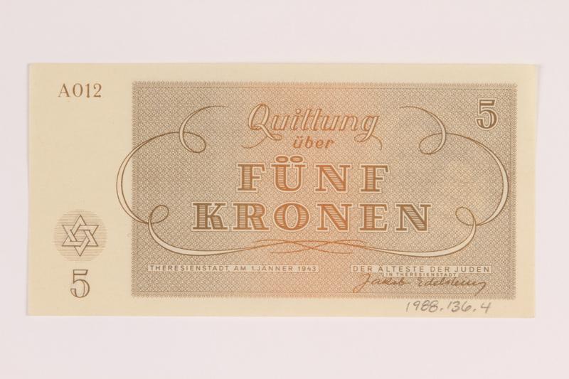 1988.136.4 front Theresienstadt ghetto-labor camp scrip, 5 kronen note