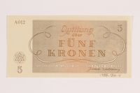 1988.136.4 front Theresienstadt ghetto-labor camp scrip, 5 kronen note  Click to enlarge