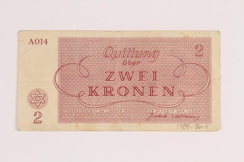 1988.136.5 front Theresienstadt ghetto-labor camp scrip, 2 kronen note