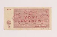 1988.136.5 front Theresienstadt ghetto-labor camp scrip, 2 kronen note  Click to enlarge