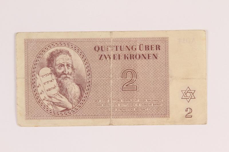 1988.136.5 back Theresienstadt ghetto-labor camp scrip, 2 kronen note