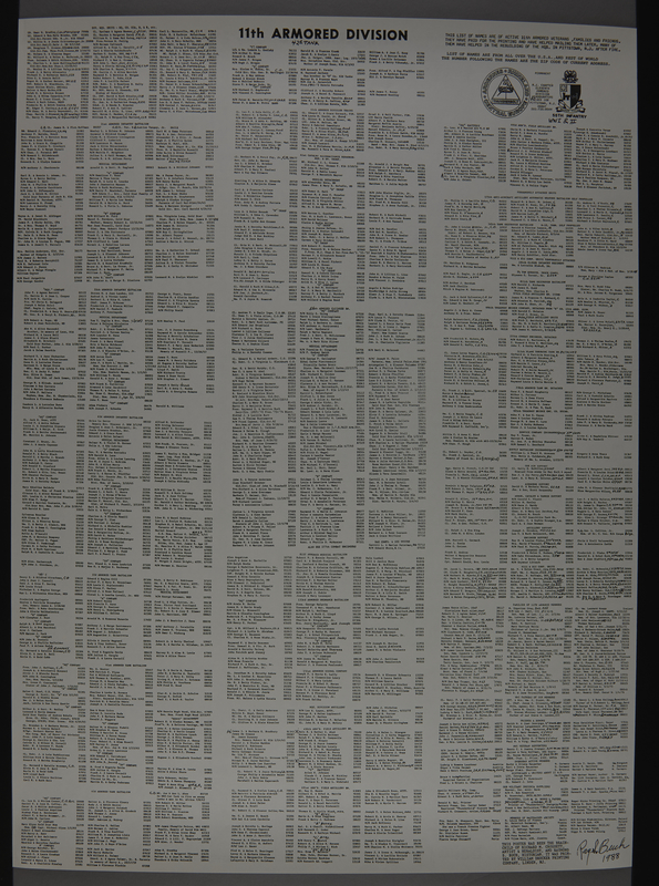 1989.324.6 front 2-sided poster of US Army 11th Armored Division campaigns designed by a unit veteran