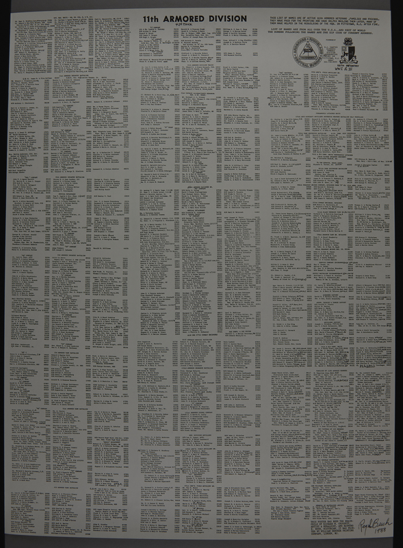 1989.324.8 front 2-sided commemorative poster, 11th Armored Division, US Army, owned by a unit veteran