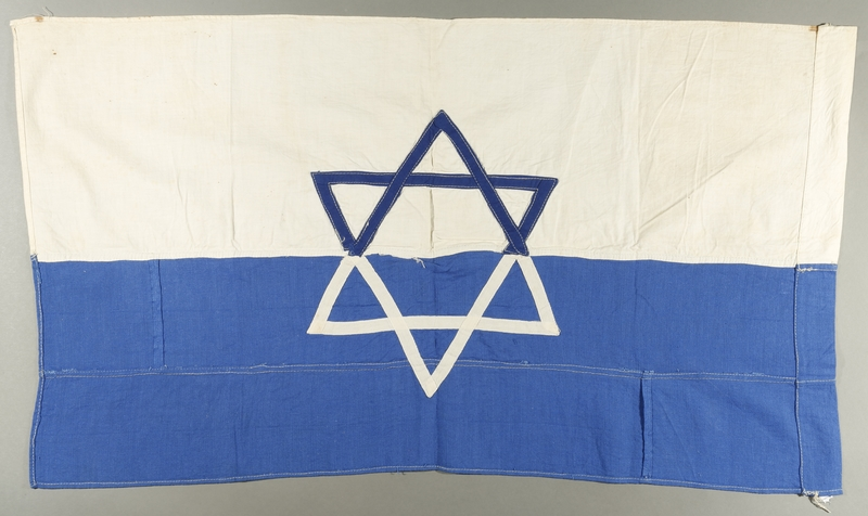 1998.147.1 back Handmade white flag with a blue Star of David made by a German refugee in Shanghai