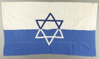 1998.147.1 back Handmade white flag with a blue Star of David made by a German refugee in Shanghai  Click to enlarge
