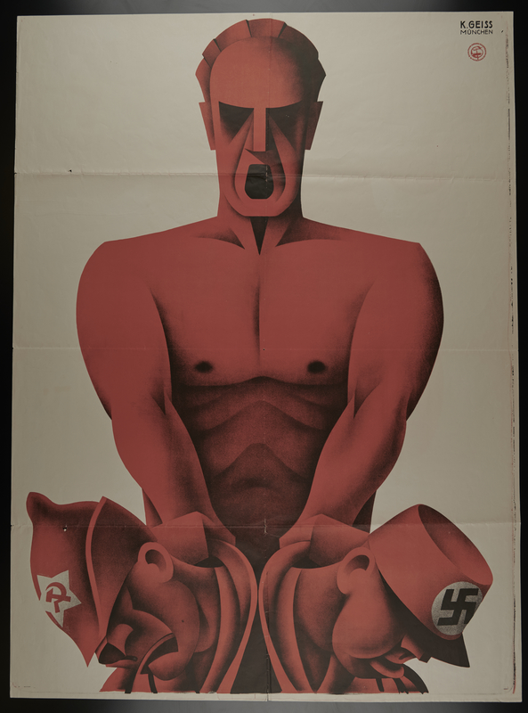 2004.451.1 front Reichstag election poster with a giant figure of the German worker subduing Communists and Nazis