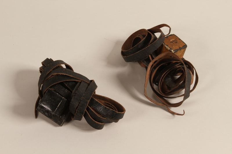 2004.446.2 a-b front Tefillin set hidden and recovered postwar by a Czech Jewish family