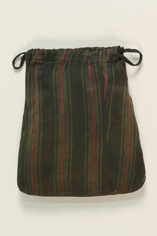 2004.446.3 front Green striped sateen tefillin pouch hidden and recovered postwar by a Czech Jewish family