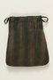 Green striped sateen tefillin pouch hidden and recovered postwar by a Czech Jewish family