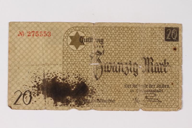 1990.31.6 front Łódź (Litzmannstadt) ghetto scrip, 20 mark note acquired by a Polish Jewish survivor