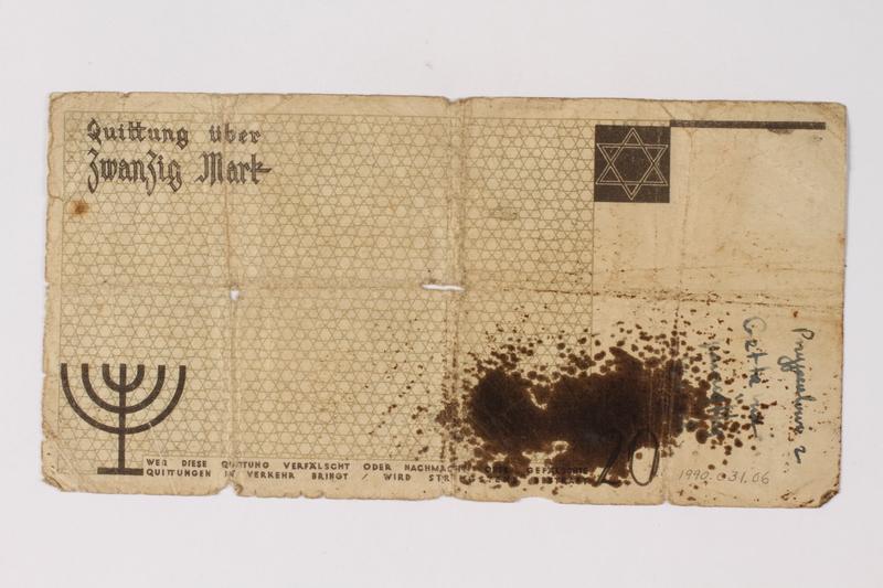 1990.31.6 back Łódź (Litzmannstadt) ghetto scrip, 20 mark note acquired by a Polish Jewish survivor
