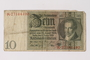 Weimar Germany Reichsbanknote, 10 Reichsmarks, owned by a Jewish Polish survivor