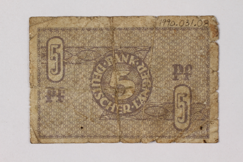 1990.31.8 back Federal Republic of Germany bank note, 5 pfennig, acquired by a Polish Jewish survivor