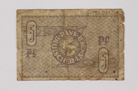 1990.31.8 back Federal Republic of Germany bank note, 5 pfennig, acquired by a Polish Jewish survivor  Click to enlarge