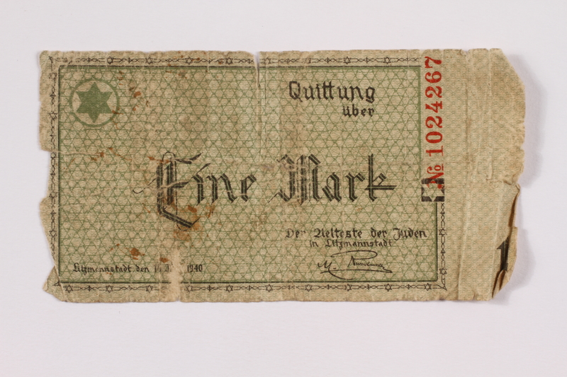 2004.521.1 back Łódź (Litzmannstadt) ghetto scrip, 1 mark note, acquired by an inmate