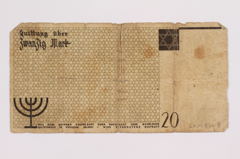 2004.521.8 back Łódź (Litzmannstadt) ghetto scrip, 20 mark note, acquired by a ghetto inmate