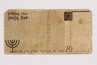 2004.521.8 back Łódź (Litzmannstadt) ghetto scrip, 20 mark note, acquired by a ghetto inmate  Click to enlarge