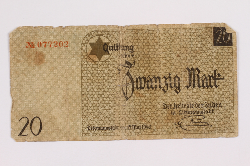 2004.521.8 front Łódź (Litzmannstadt) ghetto scrip, 20 mark note, acquired by a ghetto inmate