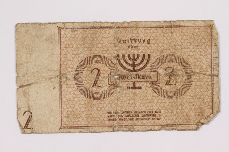 2004.521.3 front Łódź (Litzmannstadt) ghetto scrip, 2 mark note, acquired by an inmate