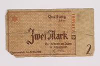 2004.521.3 back Łódź (Litzmannstadt) ghetto scrip, 2 mark note, acquired by an inmate  Click to enlarge