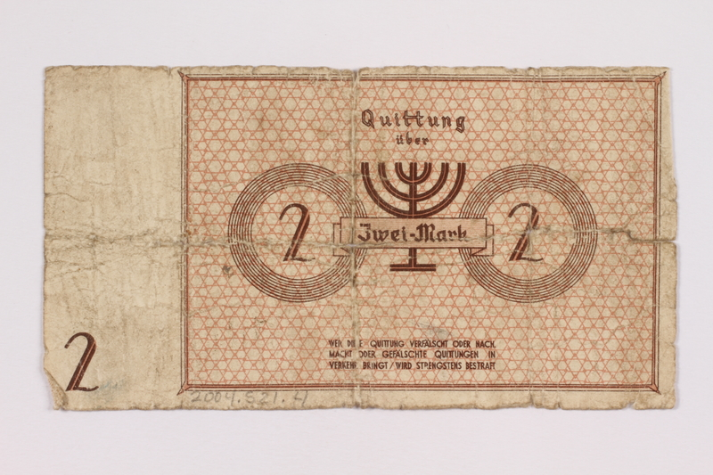 2004.521.4 front Łódź (Litzmannstadt) ghetto scrip, 2 mark note, acquired by an inmate