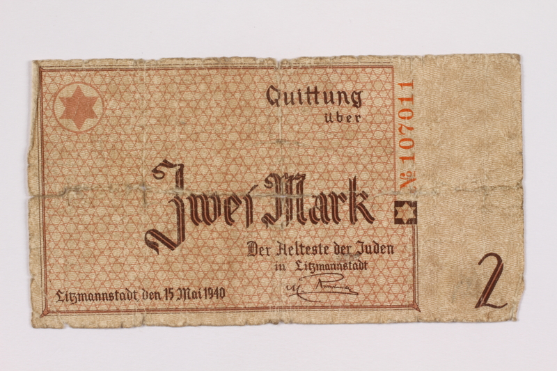 2004.521.4 back Łódź (Litzmannstadt) ghetto scrip, 2 mark note, acquired by an inmate