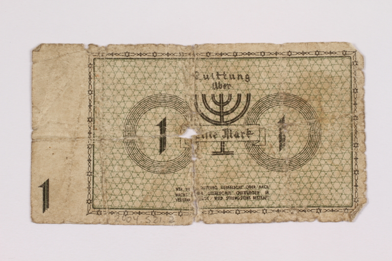 2004.521.2 front Łódź (Litzmannstadt) ghetto scrip, 1 mark note, acquired by an inmate