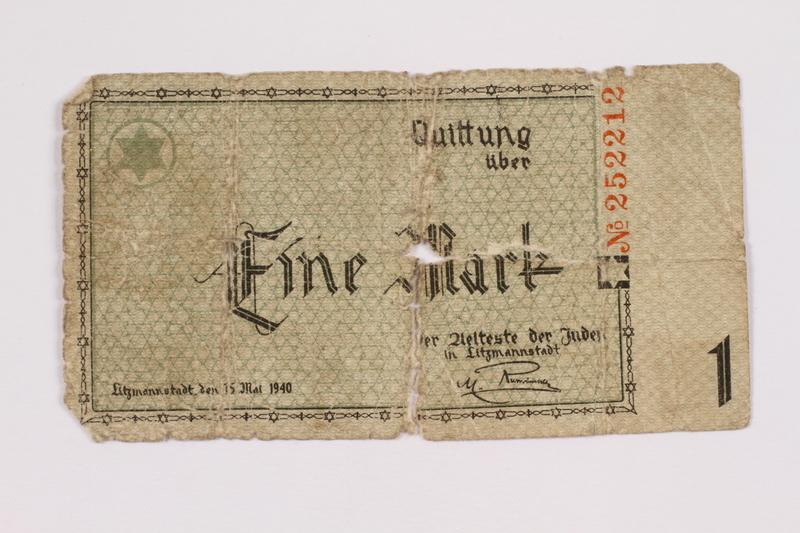 2004.521.2 back Łódź (Litzmannstadt) ghetto scrip, 1 mark note, acquired by an inmate