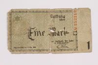 2004.521.2 back Łódź (Litzmannstadt) ghetto scrip, 1 mark note, acquired by an inmate  Click to enlarge