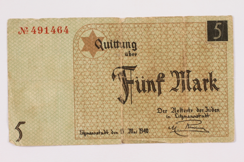 2004.521.5 front Łódź (Litzmannstadt) ghetto scrip, 5 (funf) mark note, acquired by an inmate