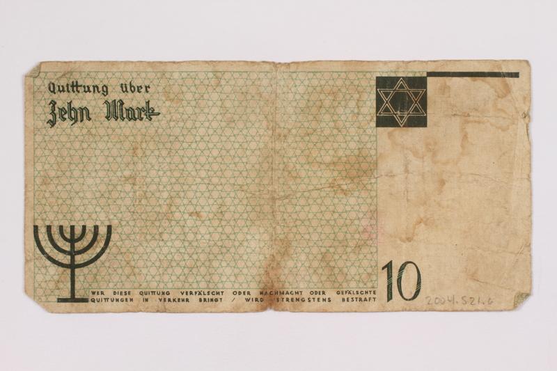 2004.521.6 back Łódź (Litzmannstadt) ghetto scrip, 10 mark note, acquired by an inmate