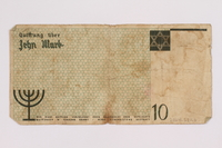 2004.521.6 back Łódź (Litzmannstadt) ghetto scrip, 10 mark note, acquired by an inmate  Click to enlarge