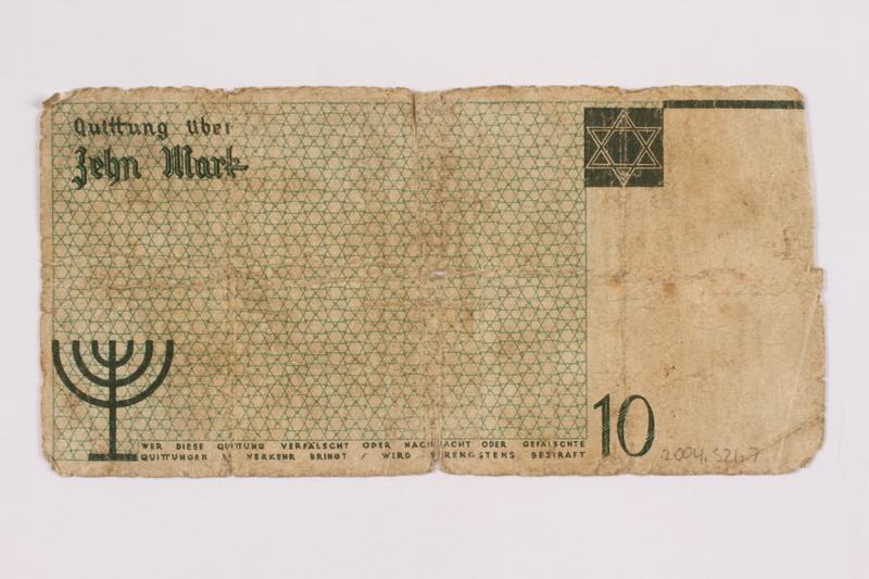 2004.521.7 back Łódź (Litzmannstadt) ghetto scrip, 10 mark note, acquired by an inmate
