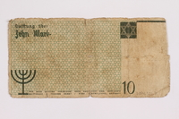 2004.521.7 back Łódź (Litzmannstadt) ghetto scrip, 10 mark note, acquired by an inmate  Click to enlarge