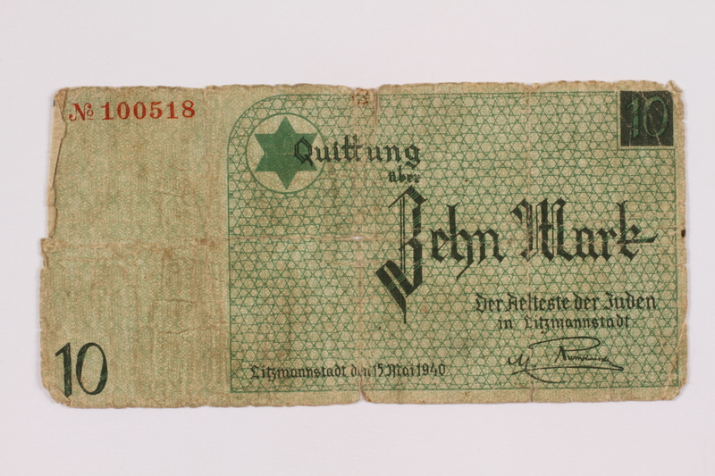 2004.521.7 front Łódź (Litzmannstadt) ghetto scrip, 10 mark note, acquired by an inmate