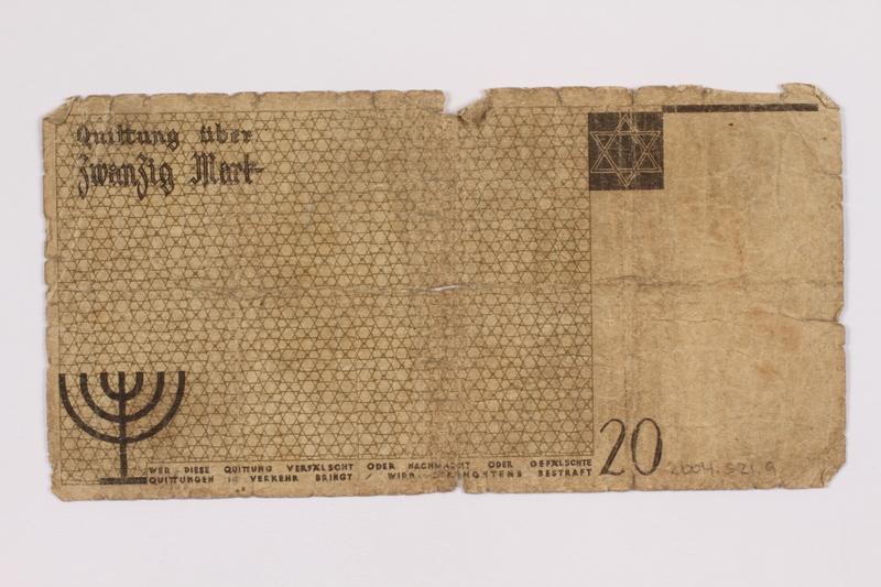 2004.521.9 back Łódź (Litzmannstadt) ghetto scrip, 20 mark note, acquired by an inmate