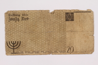 2004.521.9 back Łódź (Litzmannstadt) ghetto scrip, 20 mark note, acquired by an inmate  Click to enlarge