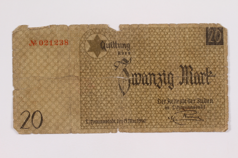 2004.521.9 front Łódź (Litzmannstadt) ghetto scrip, 20 mark note, acquired by an inmate