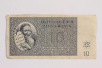 1988.82.5 front Theresienstadt ghetto-labor camp scrip, 10 kronen note  Click to enlarge