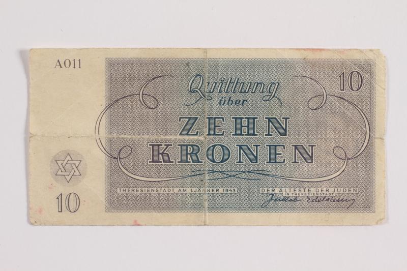 1988.82.5 back Theresienstadt ghetto-labor camp scrip, 10 kronen note